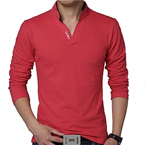 cheap Men's Polos-Men's Daily Plus Size T-shirt Solid Colored Long Sleeve Tops Cotton Active Stand Collar White Black Red / Spring / Fall
