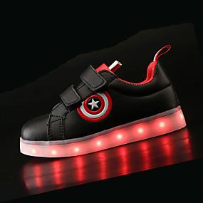 cheap Kids' Shoes-Boys USB Charging  LED / Comfort / LED Shoes PU Sneakers Little Kids(4-7ys) / Big Kids(7years +) LED Black / White Spring & Summer / TR / EU36