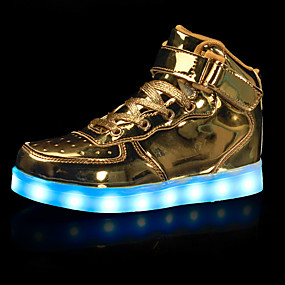 cheap Kids' Shoes-Boys USB Charging  LED / Comfort / LED Shoes Leatherette Sneakers Little Kids(4-7ys) / Big Kids(7years +) Walking Shoes Hook & Loop / LED Black / White / Gold Fall / Winter / Rubber / EU39