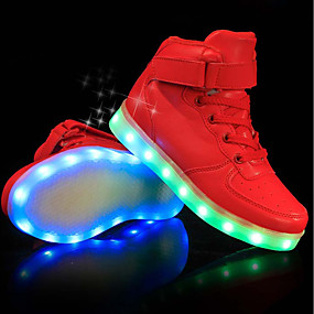 cheap Kids' Shoes-Boys USB Charging  LED / Comfort / LED Shoes PU Sneakers Little Kids(4-7ys) / Big Kids(7years +) LED Black / White / Red Spring & Summer / Party & Evening / TR