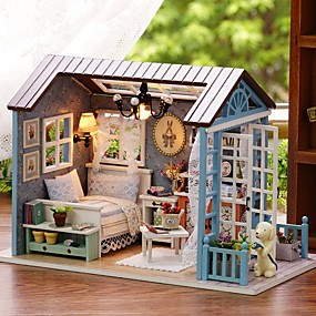 cheap Kids' Toys-Doll House DIY Miniature Dollhouse Model Lovely DIY Exquisite Romance Furniture Wooden Silicone Kid's Girls' Toy Gift