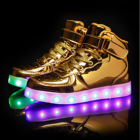 cheap Kids' Shoes-Boys / Girls USB Charging  LED / LED Shoes PU Sneakers Little Kids(4-7ys) / Big Kids(7years +) LED Black / White / Gold Spring / TR