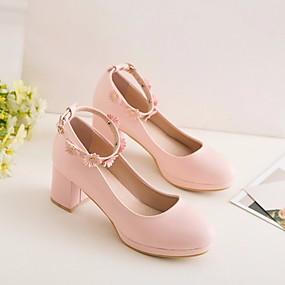 cheap Kids' Shoes-Girls' Flower Girl Shoes / Tiny Heels for Teens PU Heels Little Kids(4-7ys) / Big Kids(7years +) White / Blue / Pink Spring &  Fall