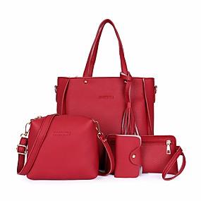 cheap Valentine2020-Women's Tassel PU Bag Set Bag Sets 4 Pieces Purse Set Black / Brown / Blushing Pink / Fall & Winter