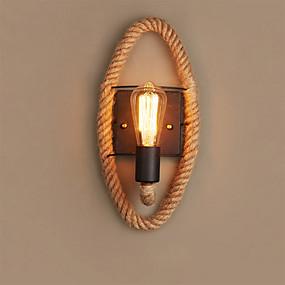 cheap Indoor Lighting-Mini Style Vintage Flush Mount wall Lights Bedroom Shops / Cafes Hemp Rope Wall Light 110-120V 220-240V / E27