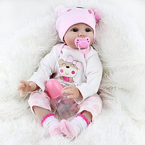 cheap Kids' Toys-NPKCOLLECTION NPK DOLL Reborn Doll Girl Doll Baby Girl Reborn Baby Doll 22 inch Silicone - Newborn lifelike Cute Lovely Parent-Child Interaction Hand Rooted Mohair Kid's Toy Gift / Floppy Head