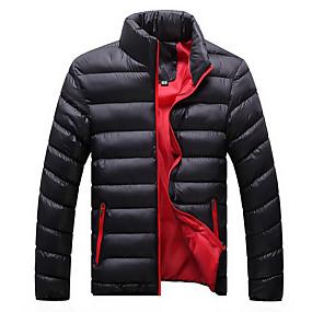 cheap Men's Downs & Parkas-Men's Winter Padded Parka Daily Basic Plus Size Solid Colored Polyester Long Sleeve Turtleneck Black / Blue / Khaki M / L / XL