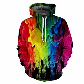 cheap Men's Hoodies & Sweatshirts-Men's Plus Size Hoodie Sweatshirt Hoodie Rainbow Hooded Casual Hoodies Sweatshirts  Rainbow / Fall / Winter
