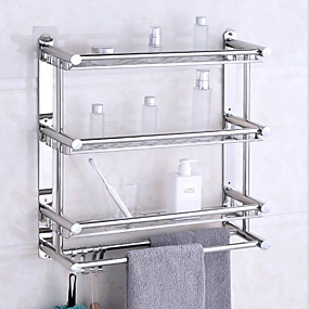 cheap Bath Accessories-Floating Shelves With Towel Bar 3 Layers Premium SUS 304 Contemporary Stainless Steel 1pc Wall Mounted