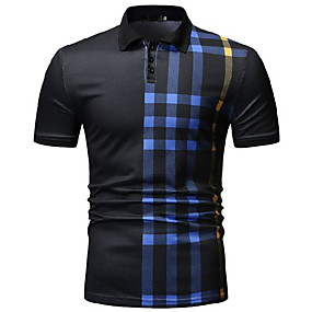 cheap Men's Polos-Men's Daily Wear Polo Striped Short Sleeve Tops Shirt Collar White Black Navy Blue
