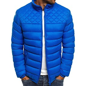cheap Men's Downs & Parkas-Men's Padded Parka Solid Colored POLY Rayon Black / Red / Royal Blue S / M / L