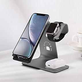 cheap Wireless Chargers-Bestand new 3 in 1 Fast Wireless Charger aluminum desktop stand for AirPods/iPhone 11/11 pro/XR/XS/ 8/8 Plus and Apple Watch Series