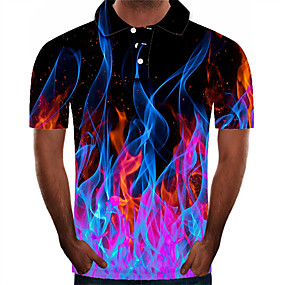cheap Men's Polos-Men's Daily Plus Size Polo 3D Graphic Short Sleeve Slim Tops Streetwear Exaggerated Shirt Collar Purple