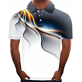 cheap Men's Polos-Men's Daily Plus Size Polo Graphic Print Short Sleeve Tops Streetwear Exaggerated Shirt Collar Black Red Rainbow