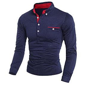 cheap Men's Polos-Men's Polo Polka Dot Print Long Sleeve Slim Tops Shirt Collar White Black Navy Blue
