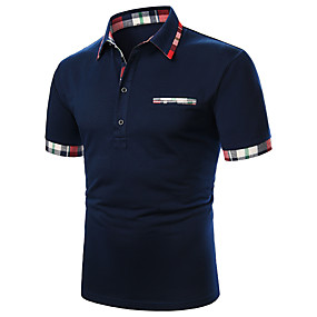cheap Men's Polos-Men's Daily Polo Solid Colored Patchwork Short Sleeve Tops Cotton Basic Navy Blue