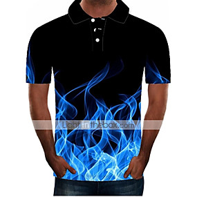 cheap Men's Polos-Men's Daily Plus Size Polo 3D Graphic Short Sleeve Slim Tops Streetwear Exaggerated Shirt Collar Black Blue Purple
