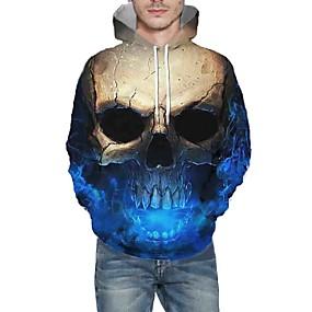 cheap Men's Hoodies & Sweatshirts-Men's Daily Pullover Hoodie Sweatshirt 3D Graphic Skull Hooded Basic Hoodies Sweatshirts  Long Sleeve Blue Red Green