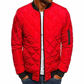 cheap Men's Downs & Parkas-mens flight bomber jacket diamond quilted varsity jackets winter warm padded coats outwear red