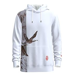 cheap Men's Hoodies & Sweatshirts-Men's Women's Daily Pullover Hoodie Sweatshirt Graphic Chinese Style Bird Oversized Hooded Casual Streetwear Hoodies Sweatshirts  Long Sleeve White