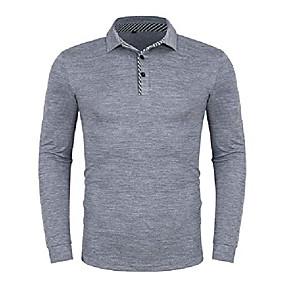 cheap Men's Polos-mens long sleeve striped collar polo t shirt dry fit sport golf polo shirts grey xl