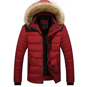 cheap Men's Downs & Parkas-Men's Parka Parka Solid Colored Cotton Black / Red / Khaki M / L / XL