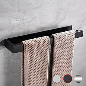 cheap Bath Accessories-Bathroom Towel Bar - 304 Stainless Steel Single Bar Matte Black Silvery Wall Mounted Bathroom & Kitchen