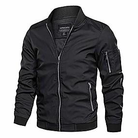 cheap Men's Downs & Parkas-men's lightweight bomber jacket loose fit softshell windbreaker thin coat black