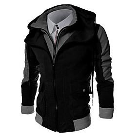 cheap Men's Hoodies & Sweatshirts-Men's Daily Hoodie Zip Up Hoodie Color Block Hooded Basic Hoodies Sweatshirts  Long Sleeve Black Light gray Dark Gray / Sports / Spring / Fall