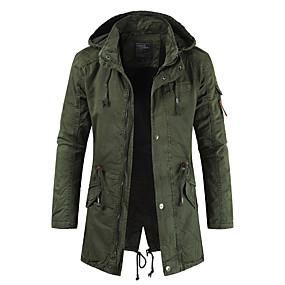 cheap Men's Downs & Parkas-Men's Winter Jacket Parka Daily Casual / Daily Polyester Long Sleeve ArmyGreen / khaki / Navy Blue M / L / XL