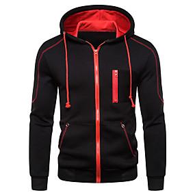 cheap Men's Hoodies & Sweatshirts-Men's Plus Size Daily Pullover Hoodie Sweatshirt Color Block Hooded Casual Hoodies Sweatshirts  Long Sleeve Black Red Light gray