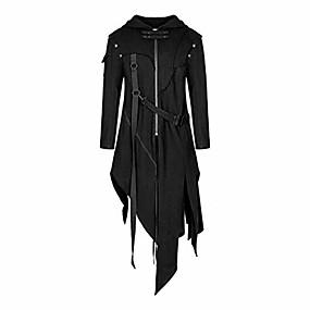 cheap Men's Downs & Parkas-men's vintage zipper up asymmetrical hoodie jacket, irregular longlineretro punk style party outwear coat black