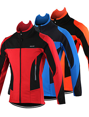 cheap Sports & Outdoors-Arsuxeo Men's Cycling Jacket Bike Jacket Top Thermal / Warm Windproof Breathable Sports Polyester Spandex Fleece Winter Orange / Red / Blue Mountain Bike MTB Road Bike Cycling Clothing Apparel