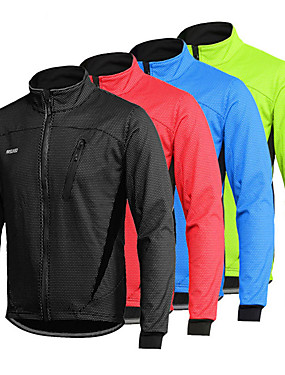 cheap Sports & Outdoors-Arsuxeo Men's Long Sleeve Cycling Jacket Winter Spandex Black Red Light Green Bike Thermal Warm Windproof Breathable Anatomic Design Waterproof Zipper Sports Mountain Bike MTB Road Bike Cycling