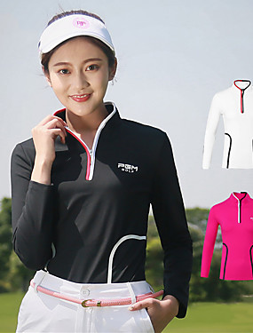 cheap Golf, Badminton & Table Tennis-Women's Golf Outdoor Exercise Polos Shirt Solid Colored Windproof Fast Dry Breathability Autumn / Fall Winter Sports & Outdoor