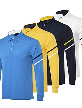 cheap Golf, Badminton & Table Tennis-Men's 1 Piece Golf Polo Shirts Solid Color Stripes UV Sun Protection Breathable Quick Dry Autumn / Fall Spring Winter Sports Outdoor / Cotton / Long Sleeve / Stretchy
