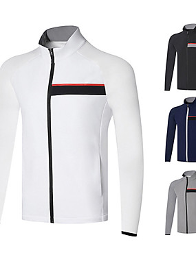 cheap Golf, Badminton & Table Tennis-Men's 1 Piece Golf Jacket Solid Color UV Sun Protection Breathable Quick Dry Autumn / Fall Spring Winter Sports Outdoor / Cotton / Long Sleeve / Stretchy