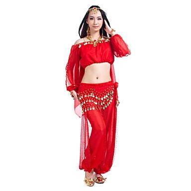 cheap Dancewear & Dance Shoes-Belly Dance Outfits Women's Training Chiffon Sequin Long Sleeve / 60cm Top / Pants / Hip Scarf / Ballroom
