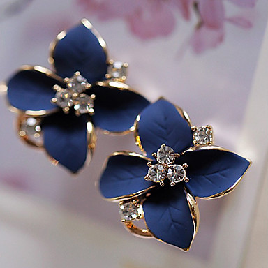 cheap Earrings-Women's Stud Earrings Floral Flower Camellia Ladies Fashion Elegant Rhinestone Gold Plated Earrings Jewelry Rainbow / White For Party Daily Casual 1 Pair