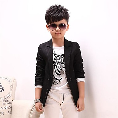 cheap Boys' Clothing-Boys' Cool Daily Solid Colored Long Sleeve Cotton Suit & Blazer Black