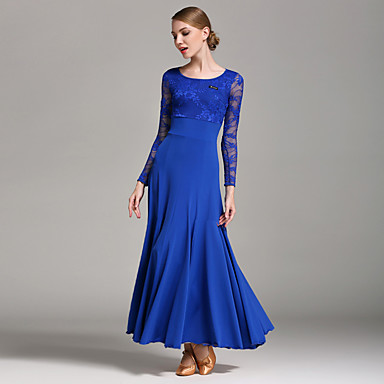 cheap Dancewear & Dance Shoes-Ballroom Dance Dresses Women's Performance Lace / Milk Fiber Lace Long Sleeve Natural Dress