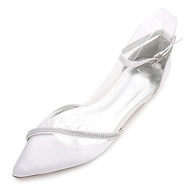 cheap Wedding Shoes-Women's Wedding Shoes Flat Heel Pointed Toe / Open Toe Rhinestone / Sparkling Glitter Satin Comfort / Ballerina / D'Orsay & Two-Piece Spring / Summer Blue / Champagne / Ivory / Ankle Strap / EU40
