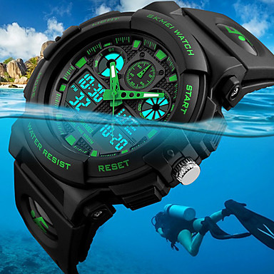cheap Sport Watches-SKMEI Men's Wrist Watch Digital Watch Hunting Watch Quartz Fashion Water Resistant / Waterproof Analog - Digital Black Red Blue / Two Years / Quilted PU Leather / Japanese / Alarm