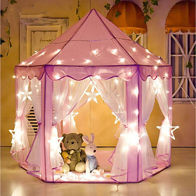 cheap Outdoor Fun & Sports-Play Tent & Tunnel Playhouse Tent Castle Princess Foldable Glow in the Dark LED Light Convenient Star Fabrics Indoor Outdoor Spring Summer Fall 3 years+ Boys' Girls' Pop Up Indoor/Outdoor Playhouse