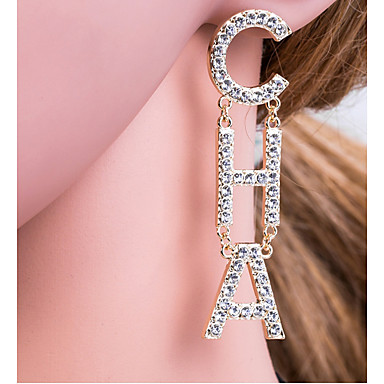 cheap Earrings-Women's Silver Gold Drop Earrings Alphabet Shape Letter European Elegant Initial Gold Plated Imitation Diamond Earrings Jewelry Gold / Silver For Daily 1 Pair
