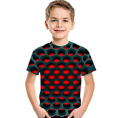 cheap Boys' Clothing-Kids Toddler Boys' Active Basic Geometric Print 3D Print Short Sleeve Tee Red