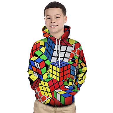 cheap Boys' Hoodies & Sweatshirts-Kids Toddler Boys' Active Basic Rubik's Cube Geometric Color Block 3D Print Long Sleeve Hoodie & Sweatshirt Rainbow