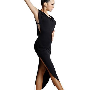 cheap Dancewear & Dance Shoes-Latin Dance Dresses / Flamenco Women's Training / Performance Milk Fiber Bandage / Pom-pom Sleeveless Natural Dress