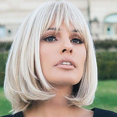 cheap Wigs & Hair Pieces-Synthetic Wig Natural Straight Bob With Bangs Wig Blonde Medium Length Light golden Brown Blonde Medium Blonde White Synthetic Hair 14 inch Women's New Arrival Fluffy Blonde