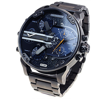 cheap Sport Watches-Men's Military Watch Wrist Watch Steel Band Watches Oversized Luxury Calendar / date / day Analog Black Blue Grey / Two Years / Dual Time Zones / Two Years